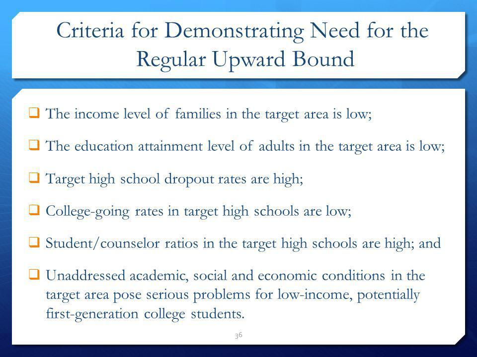 Criteria for Demonstrating Need for the Regular Upward Bound