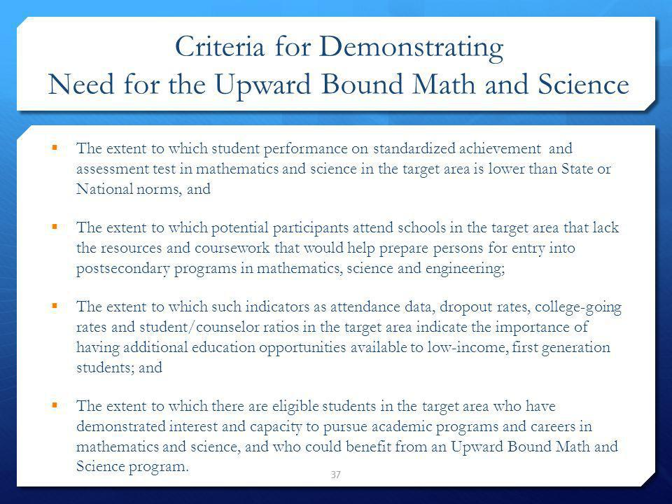 Criteria for Demonstrating Need for the Upward Bound Math and Science