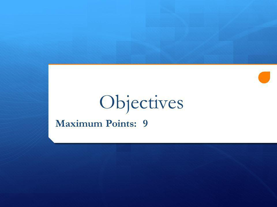Objectives Maximum Points: 9