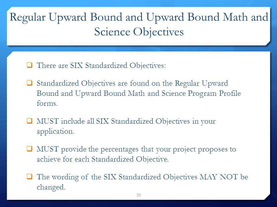 Regular Upward Bound and Upward Bound Math and Science Objectives