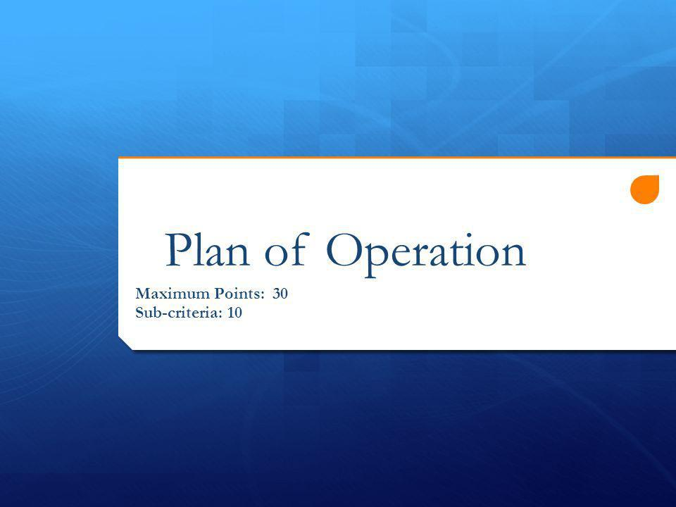 Plan of Operation Maximum Points: 30 Sub-criteria: 10
