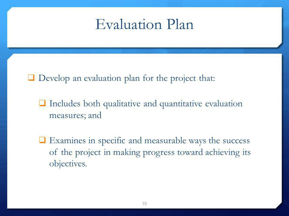 Evaluation Plan Develop an evaluation plan for the project that: