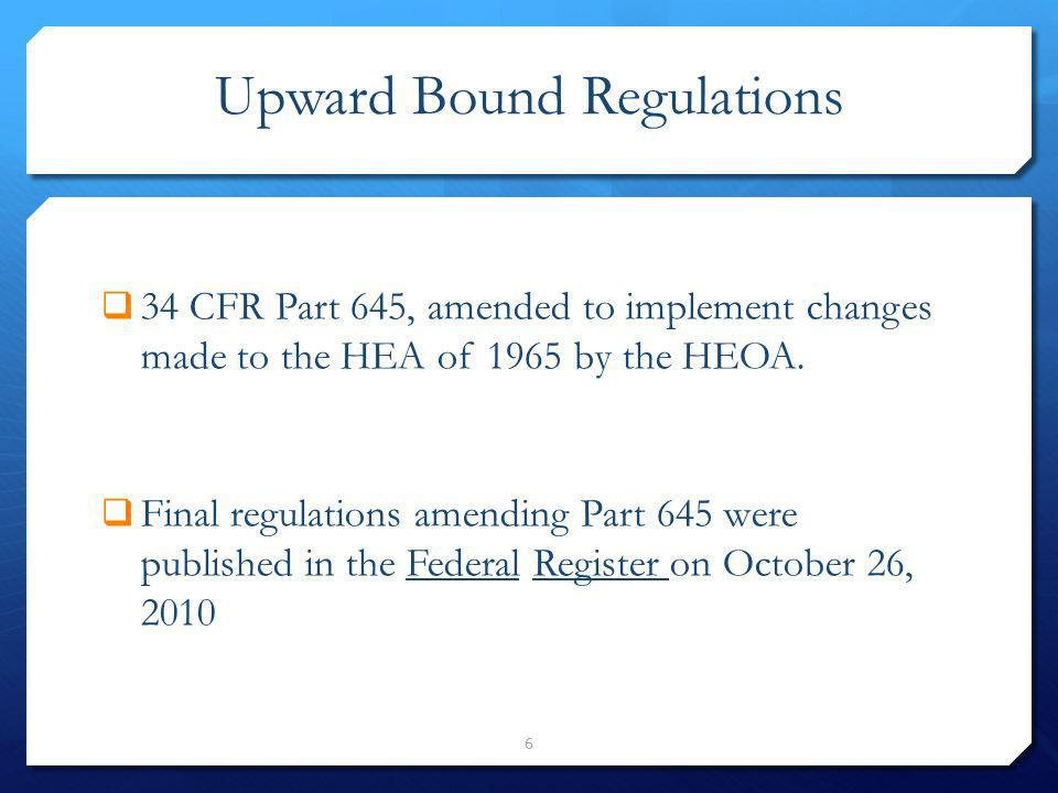 Upward Bound Regulations