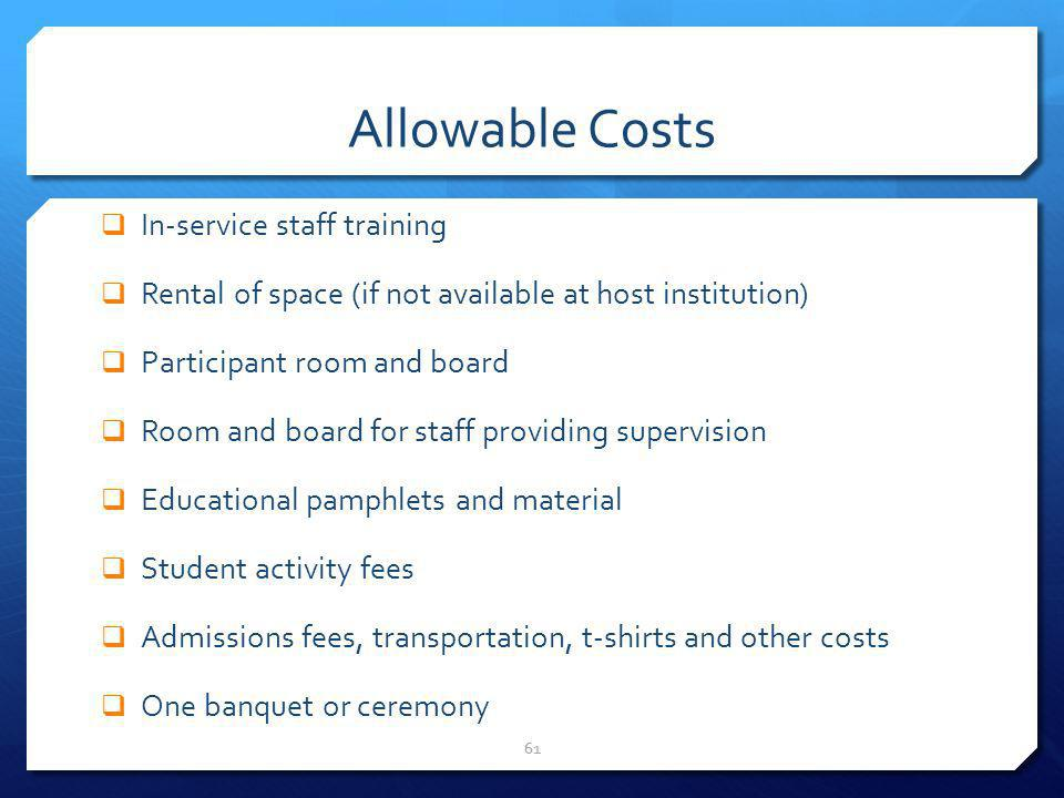Allowable Costs In-service staff training