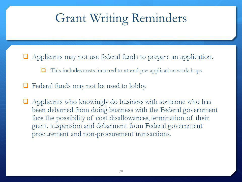 Grant Writing Reminders