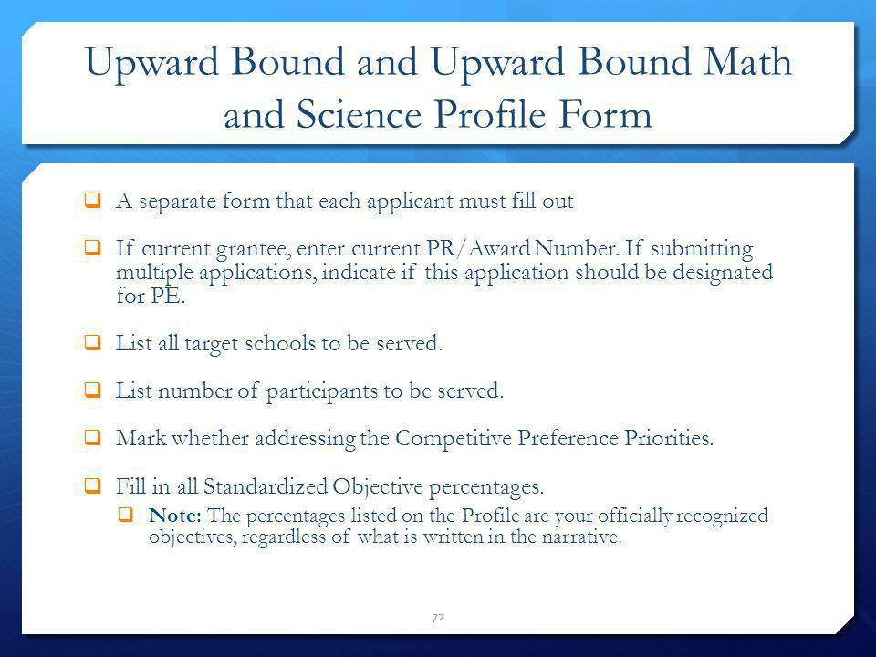 Upward Bound and Upward Bound Math and Science Profile Form