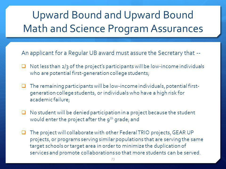 Upward Bound and Upward Bound Math and Science Program Assurances