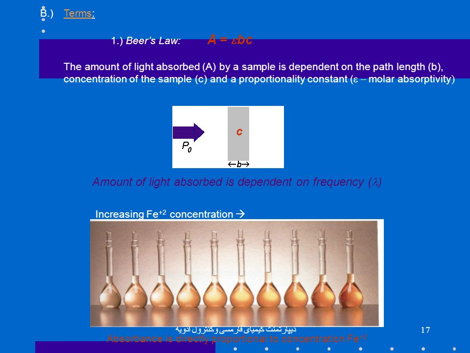 Amount of light absorbed is dependent on frequency (l)