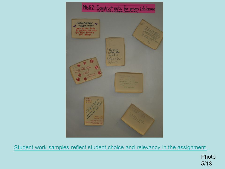 Student work samples reflect student choice and relevancy in the assignment.