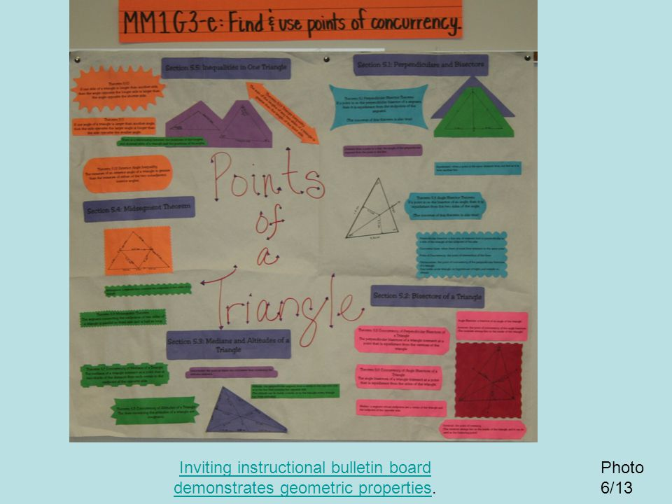 Inviting instructional bulletin board demonstrates geometric properties.