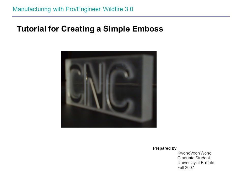 Tutorial for Creating a Simple Emboss