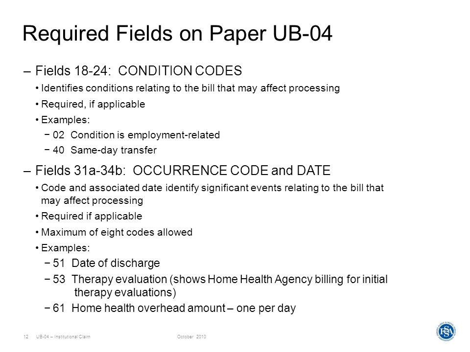 Required Fields on Paper UB-04