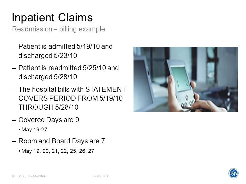 Inpatient Claims Readmission – billing example
