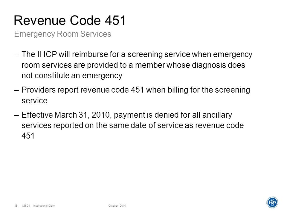 Revenue Code 451 Emergency Room Services