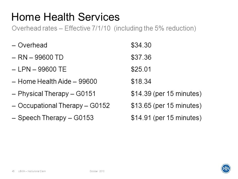 Home Health Services Overhead rates – Effective 7/1/10 (including the 5% reduction) Overhead $34.30.