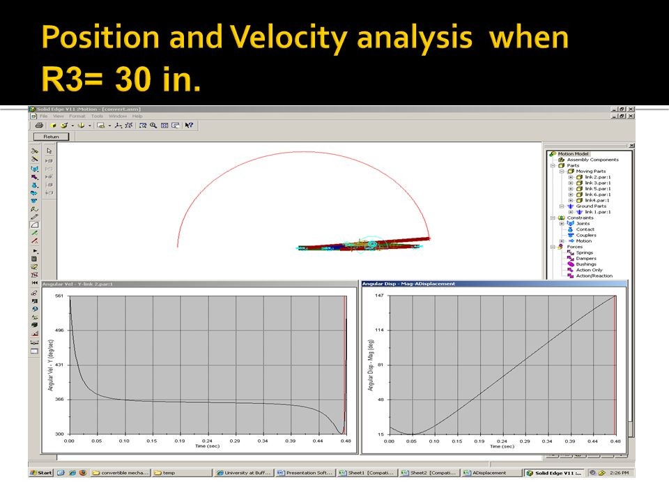 Position and Velocity analysis when R3= 30 in.