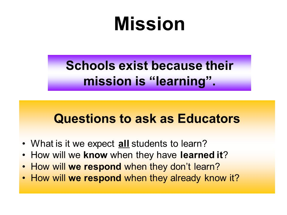 Schools exist because their Questions to ask as Educators