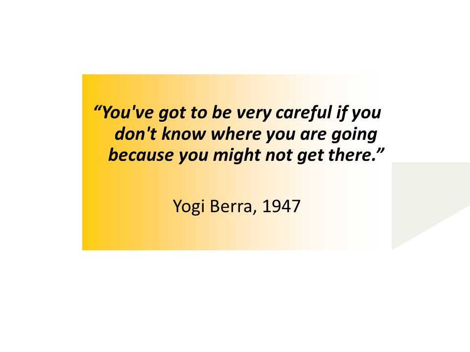 You ve got to be very careful if you don t know where you are going because you might not get there. Yogi Berra, 1947