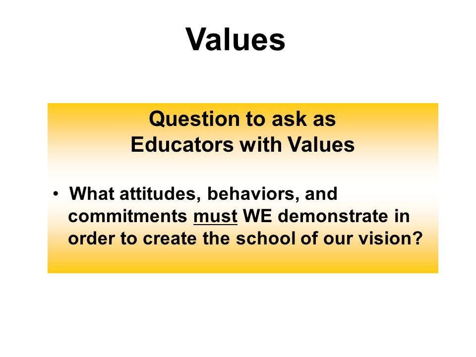 Values Question to ask as Educators with Values