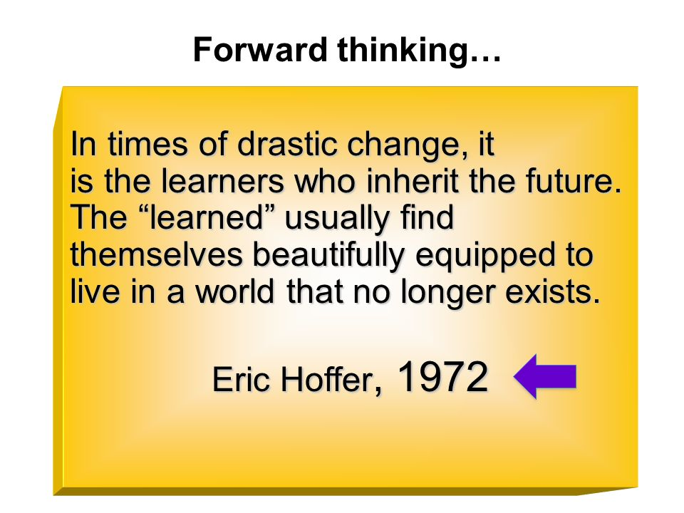 Forward thinking…