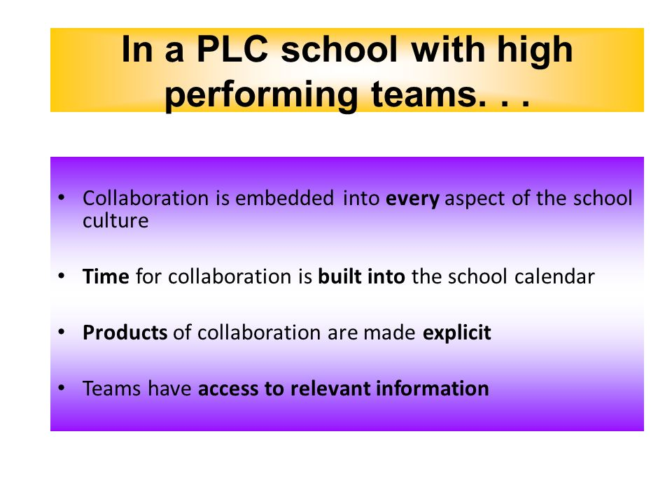 In a PLC school with high performing teams. . .