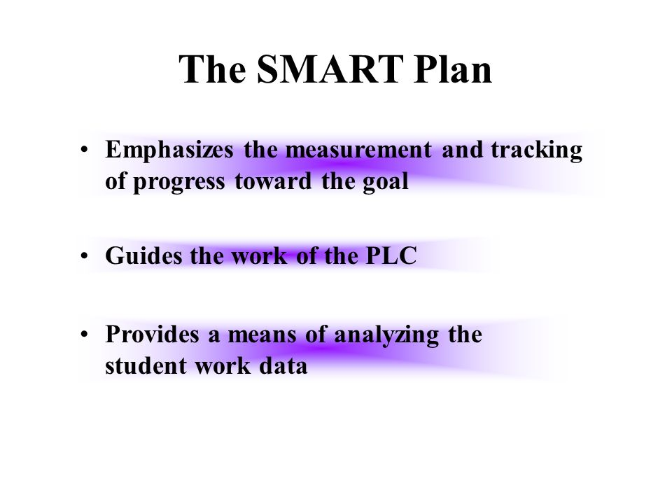 The SMART Plan Emphasizes the measurement and tracking of progress toward the goal. Guides the work of the PLC.