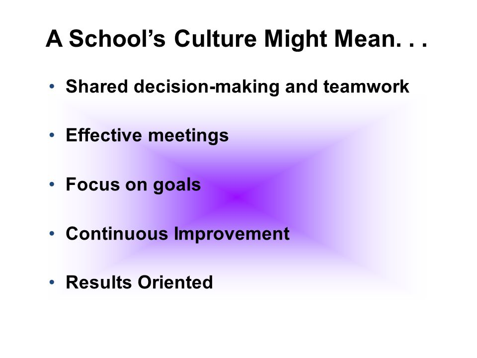 A School's Culture Might Mean. . .