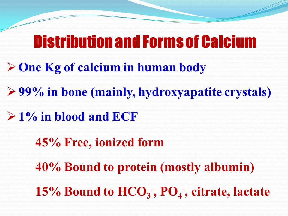 Distribution and Forms of Calcium
