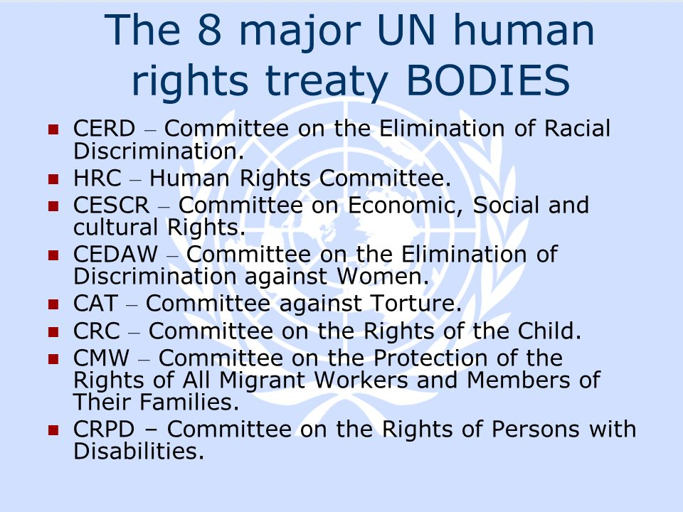 The 8 major UN human rights treaty BODIES
