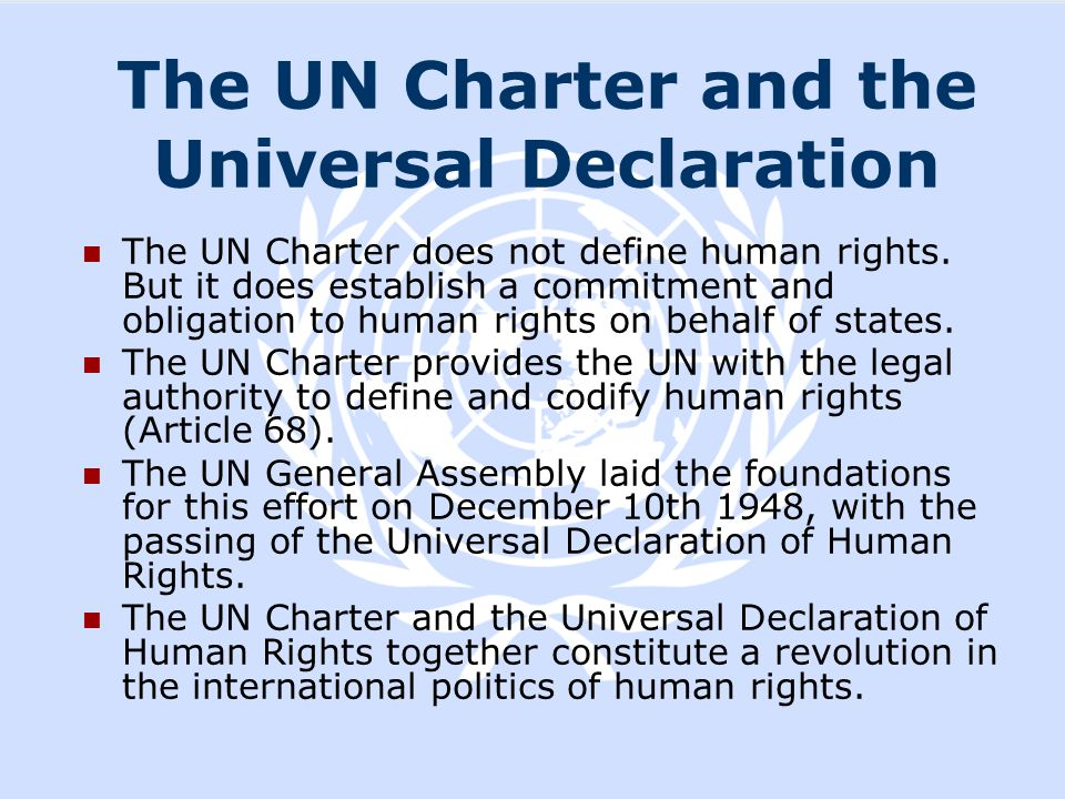 The UN Charter and the Universal Declaration
