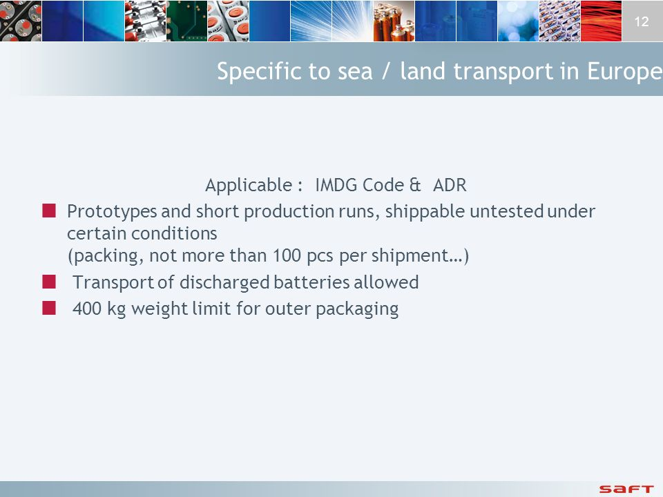 Specific to sea / land transport in Europe