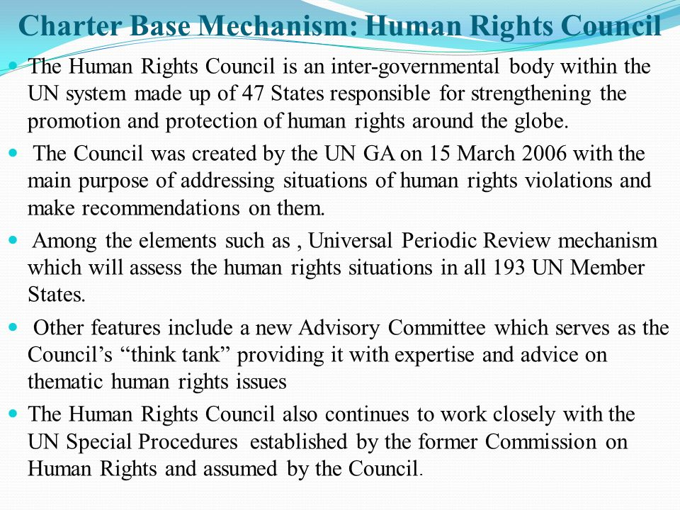 Charter Base Mechanism: Human Rights Council
