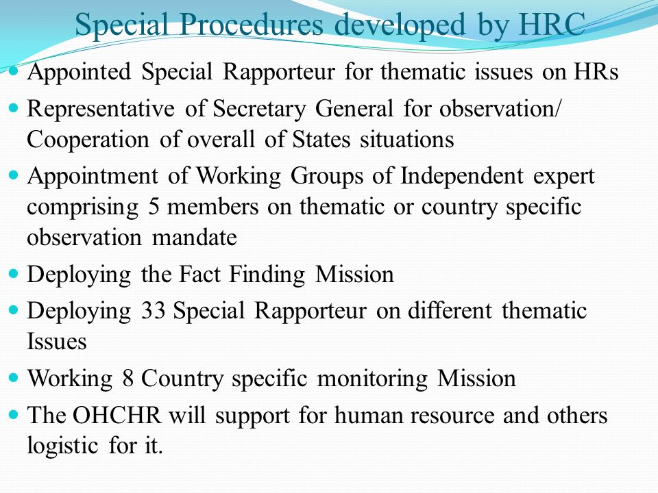 Special Procedures developed by HRC