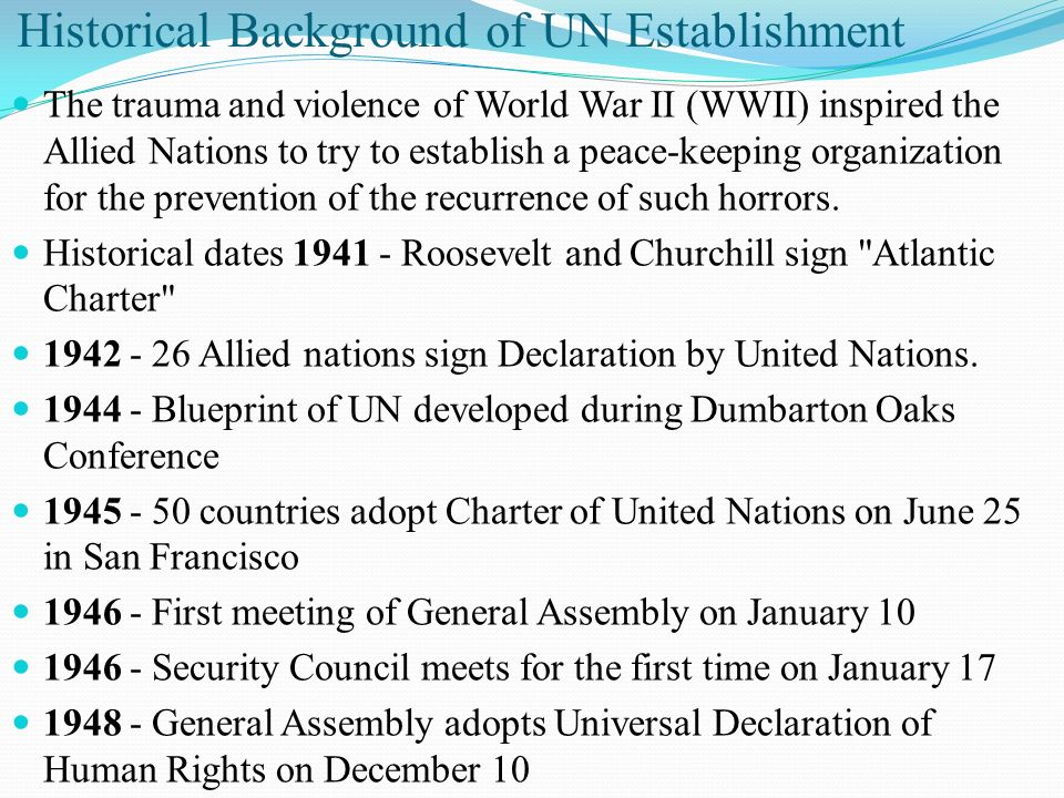 Historical Background of UN Establishment