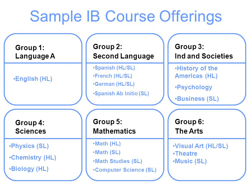 Sample IB Course Offerings