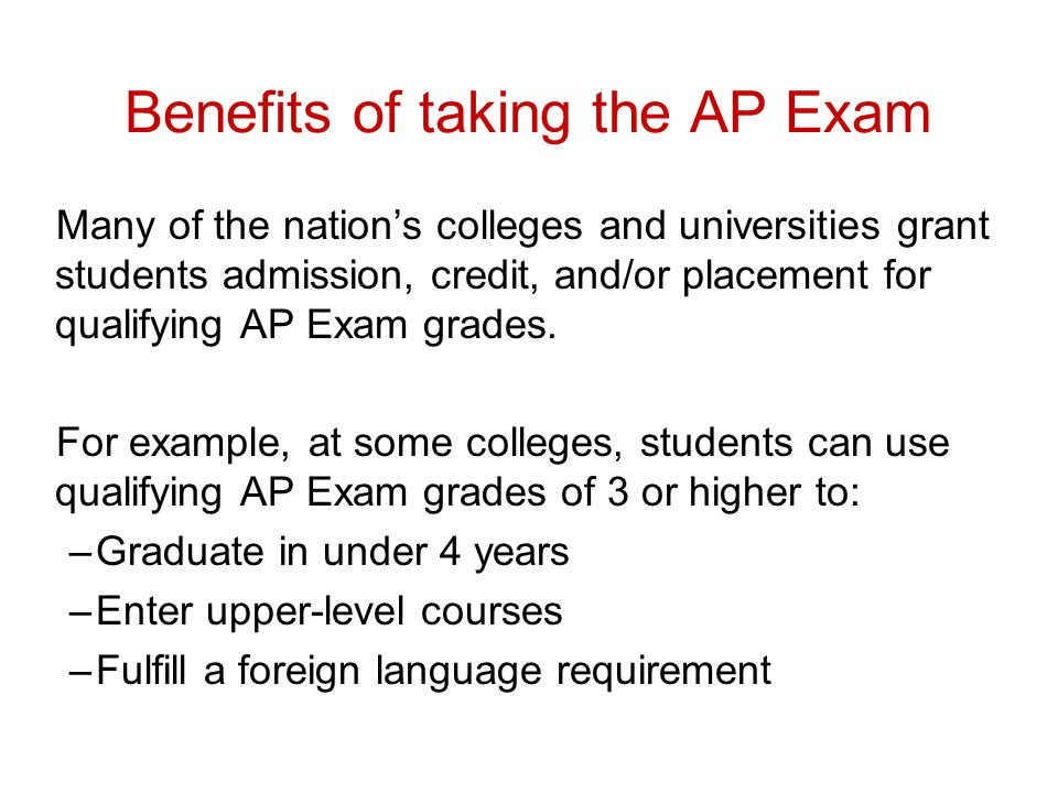 Benefits of taking the AP Exam