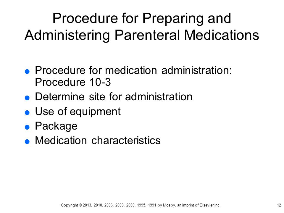 Procedure for Preparing and Administering Parenteral Medications