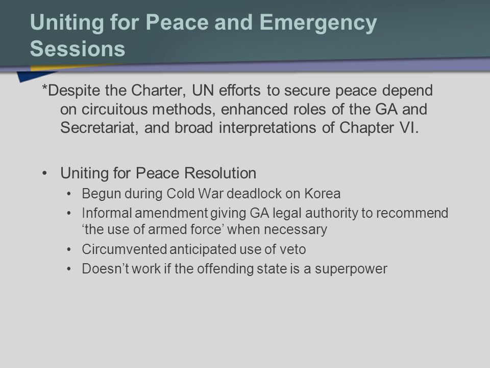 Uniting for Peace and Emergency Sessions