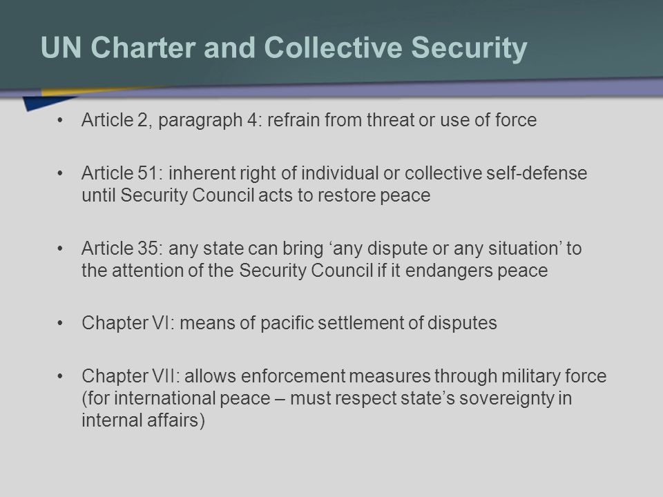 UN Charter and Collective Security