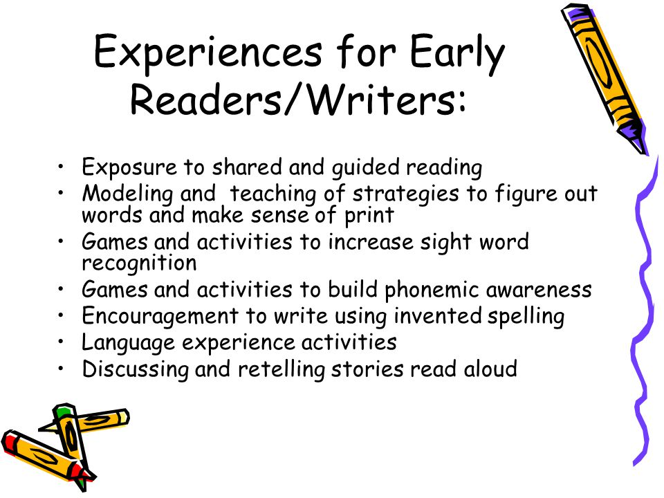 Experiences for Early Readers/Writers: