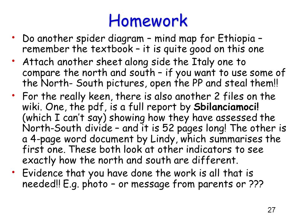 Homework Do another spider diagram – mind map for Ethiopia – remember the textbook – it is quite good on this one.