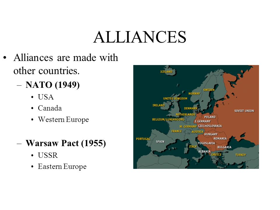 ALLIANCES Alliances are made with other countries. NATO (1949)