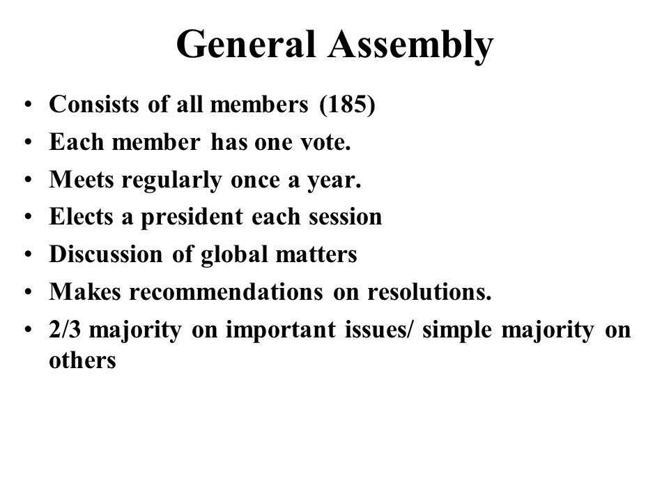 General Assembly Consists of all members (185)