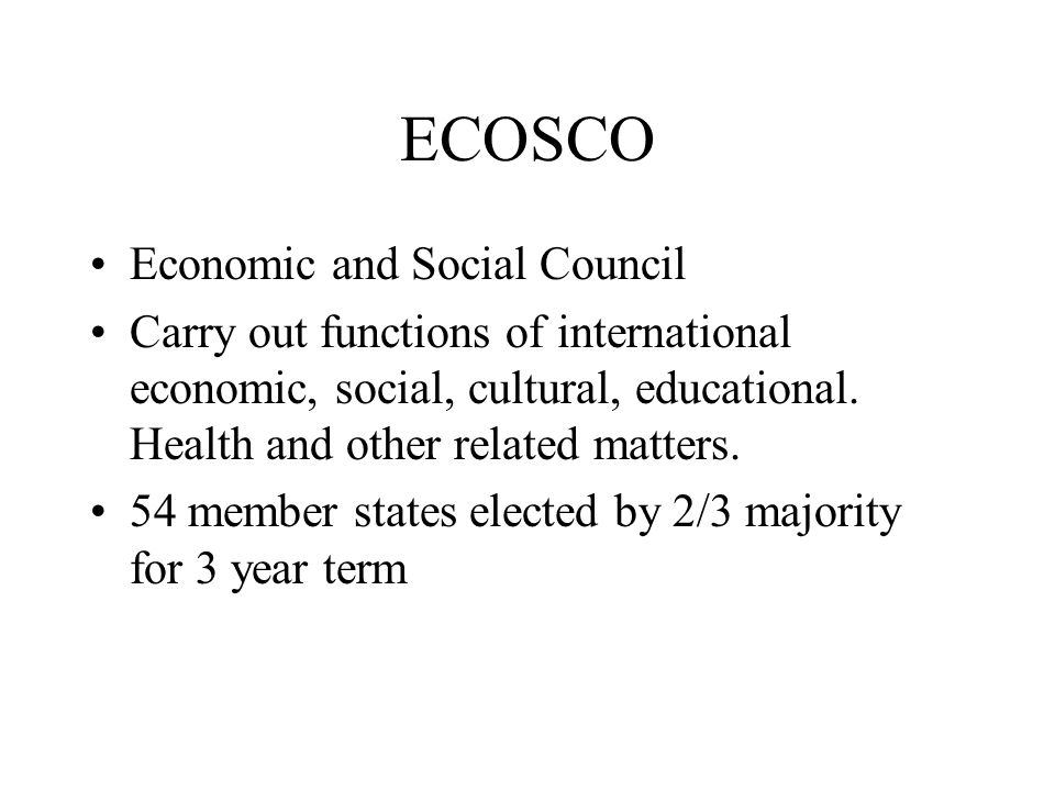 ECOSCO Economic and Social Council