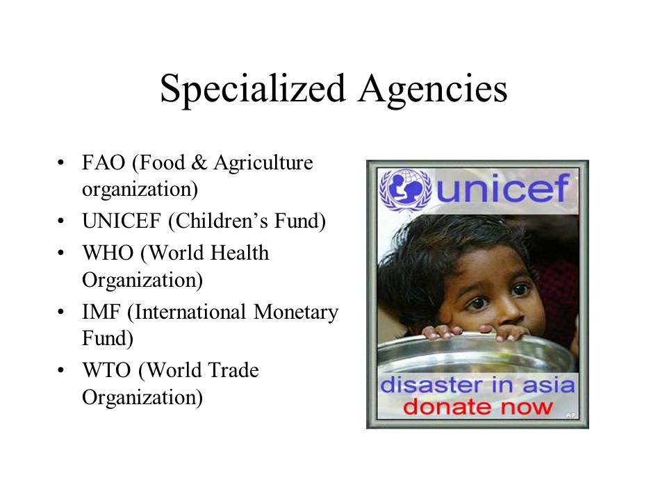 Specialized Agencies FAO (Food & Agriculture organization)