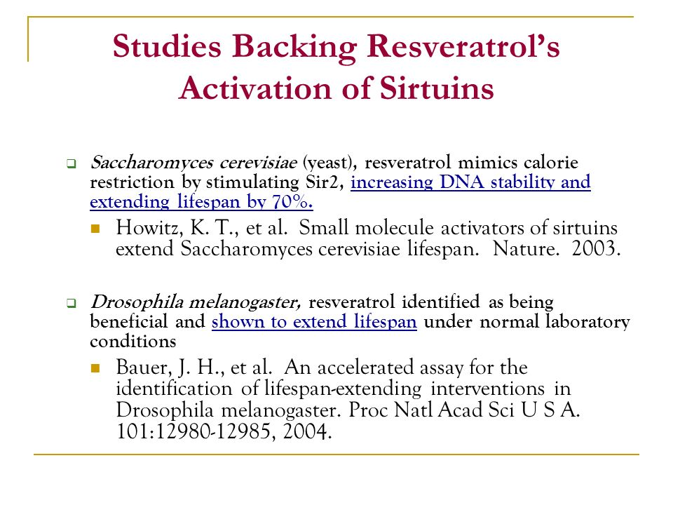 Studies Backing Resveratrol's Activation of Sirtuins