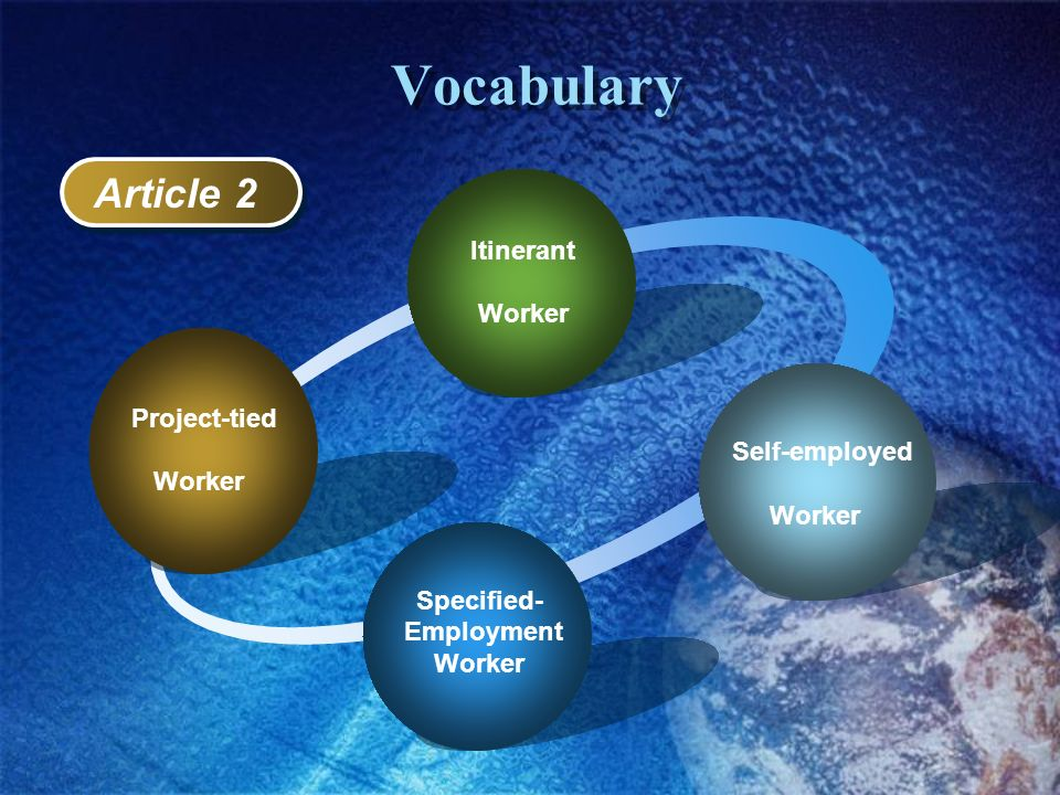 Vocabulary Article 2 Itinerant Worker Worker Self-employed Worker