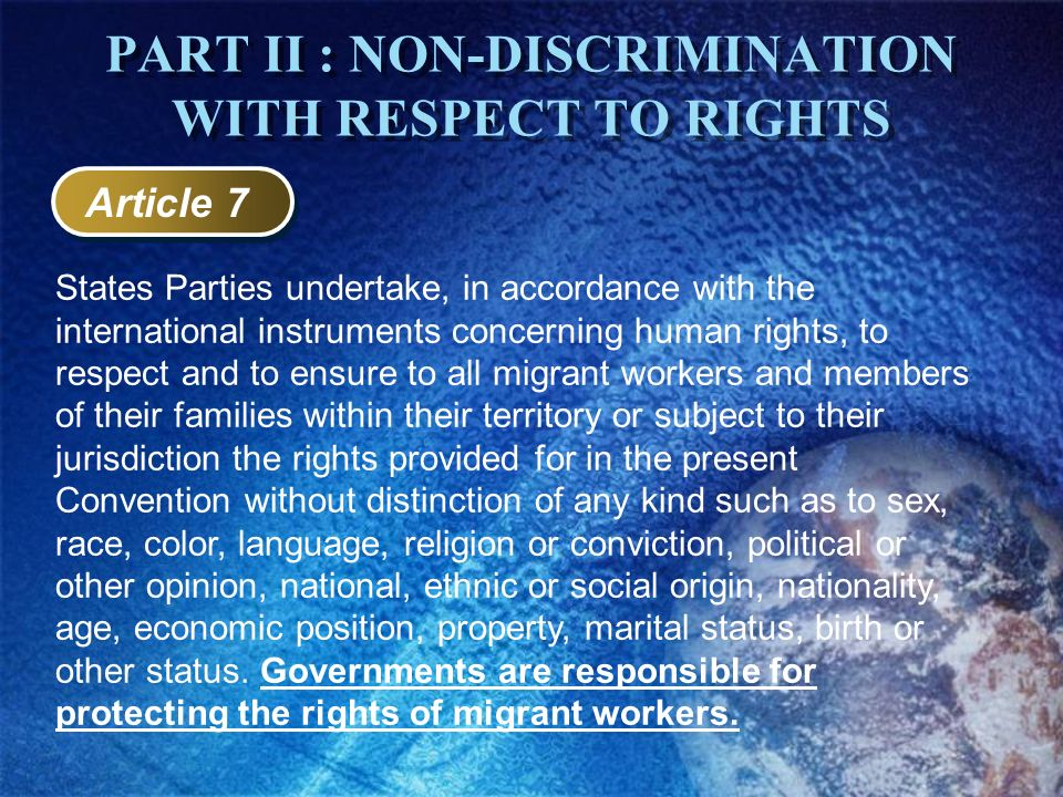 PART II : NON-DISCRIMINATION WITH RESPECT TO RIGHTS