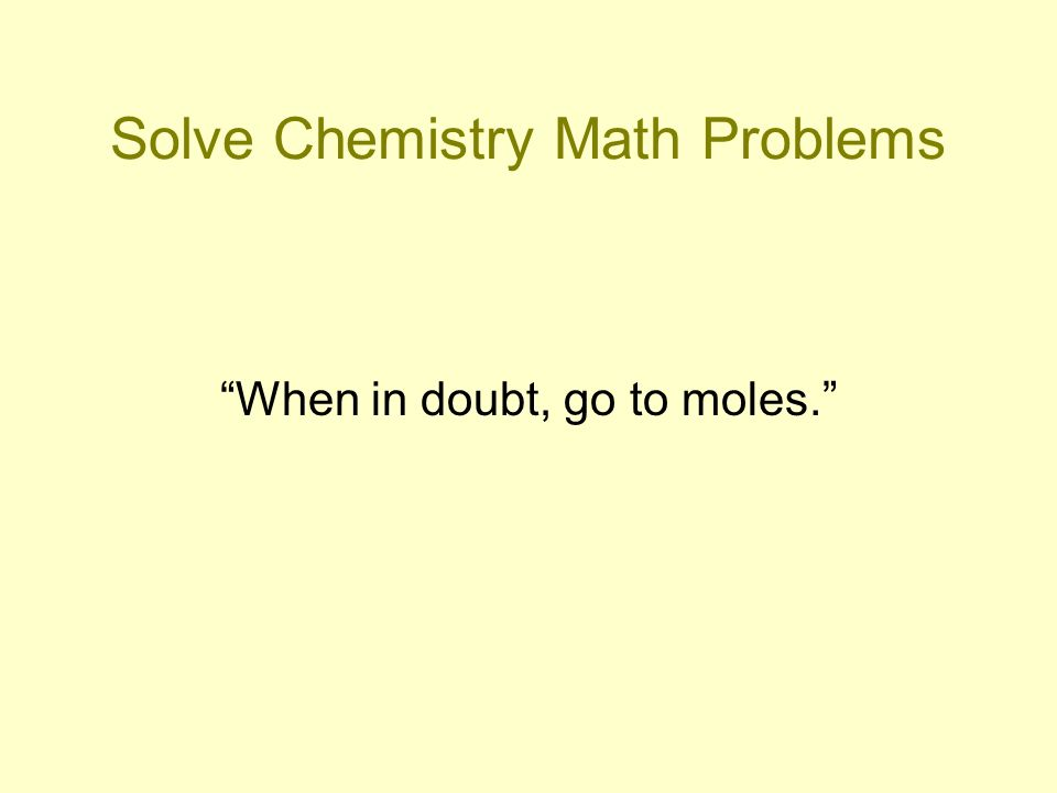 Solve Chemistry Math Problems