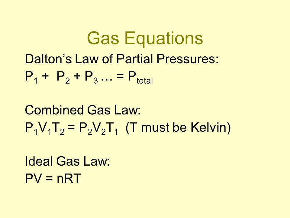 Gas Equations Dalton's Law of Partial Pressures: